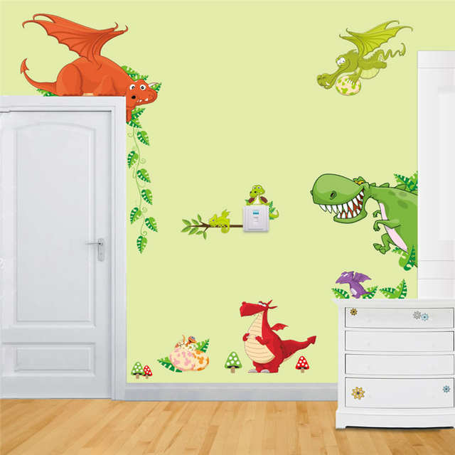 Placeholder Dinosaur Wall Art Home Decorations Animal Stickers Kids Room  Cartoon Pegatinas Adesivo Parede Children Wall Decals