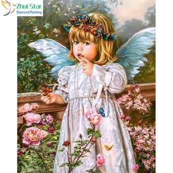 Zhui Star 5D DIY полностью квадратная Алмазная вышивка крестиком цветок и девушка Ангел горный хрусталь Алмазная вышивка мозаика домашний декор