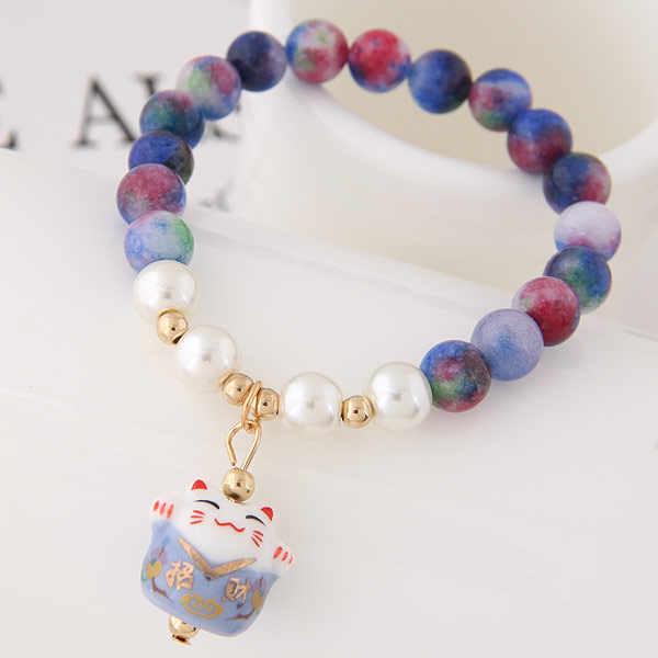 甘い石ビーズストランドブレスレットラッキー猫セラミックビーズのブレスレットチャームブレスレット