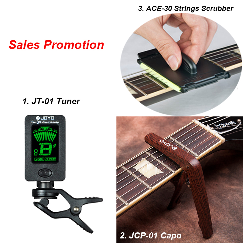 Packing 3 in 1 JT-01 Tuner, ACE-30 String Scrubber Fingerboard Cleaner, JCP-01 Capo for Guitar Bass Instruments Free Shipping