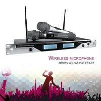 Professional Wireless Microphone Handheld Style Karaoke Microphone Dual Channel Mic Transmitter Sound Speaker