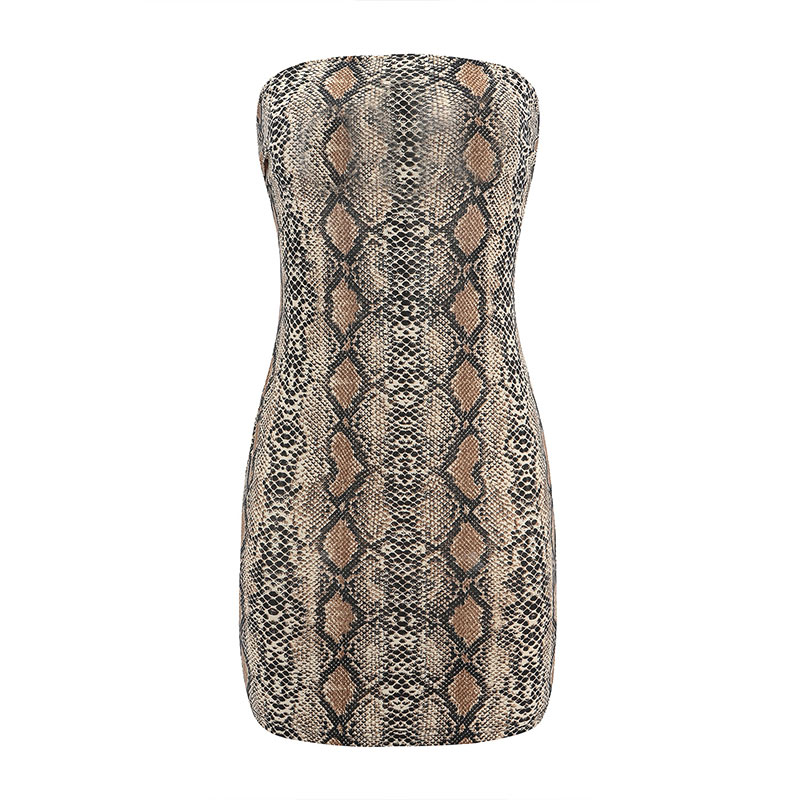 bf952cbc586f4 US $7.49 25% OFF|Gwirpte Women Sleeveless Strapless Dresses Snake skin  Bodycon Slim Tube dress with Zipper Summer Fashion Sexy vestido-in Dresses  from ...