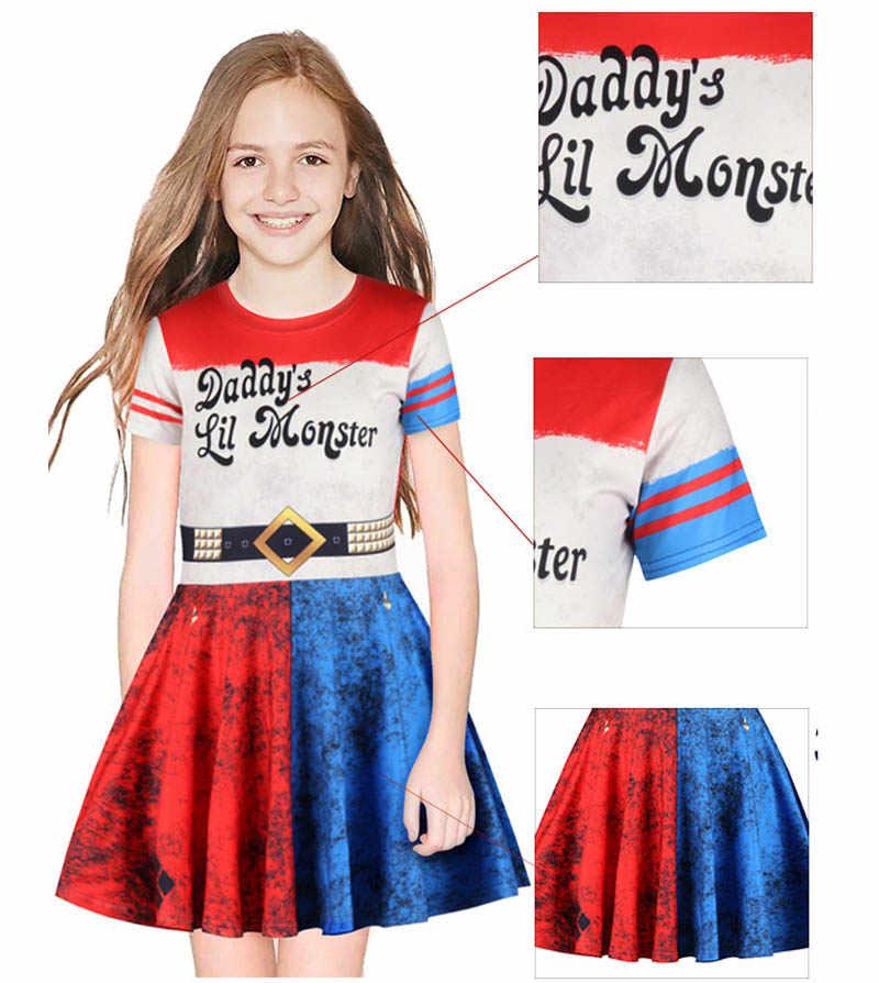 自殺分隊ハーレークインコスプレ衣装女の子夏ピエロドレス女の子キッズレスプライシングプリーツスカート王女のドレス