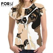 FORUDESIGNS Funny Beagle Dog Design T Shirt Women Harajuku Short Sleeve Summer Tops Ladies Kawaii Tee for Females Clothes
