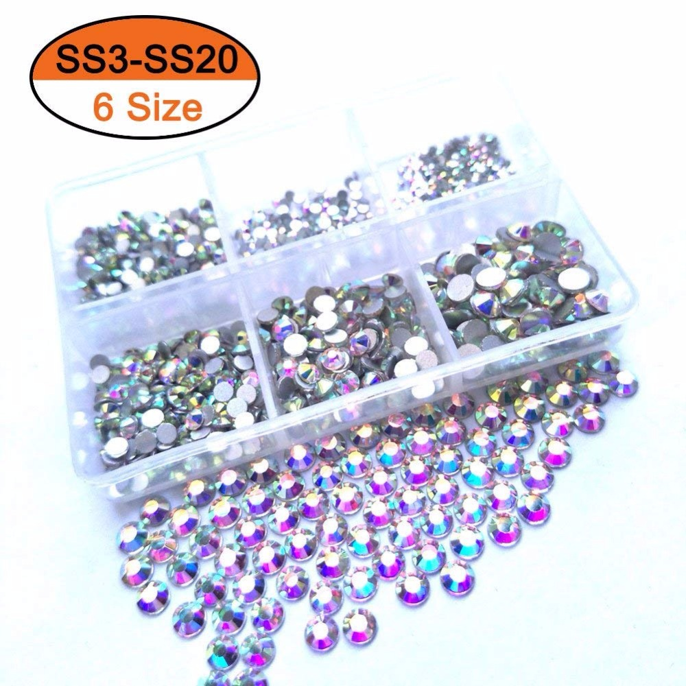 4c965ea265 US $3.79 15% OFF|1 Box Multi Size Glass Rhinestones For Nail Art  Decorations Mixed Colors Flatback AB Crystal Strass 3D Charm Gems DIY  Manicure-in ...
