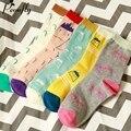 Padrão de caracteres de impressão dos desenhos animados mulheres meias happy socks harajuku rua maré meias de algodão quentes 5 pares/lote