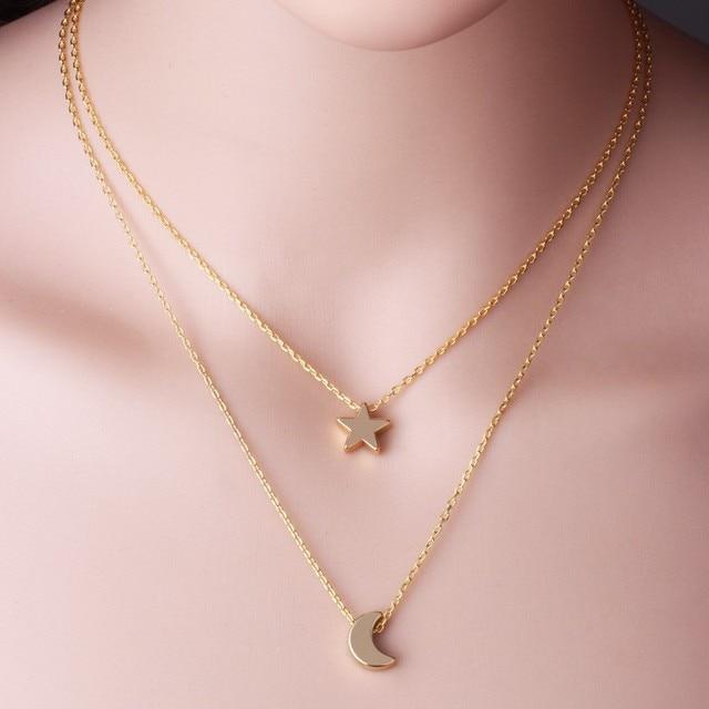 3d6066d75bbf Collares de moda Dos Capas Dobles de la Cadena de Oro Plata Plateada Luna  Estrella