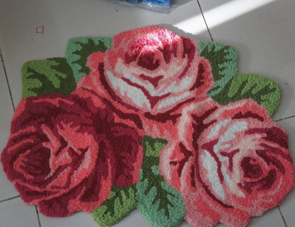 3 Rose Carpet Floor Mat Handmade Rug Anti Slip Modern Carpet Kitchen Area  Rugs,