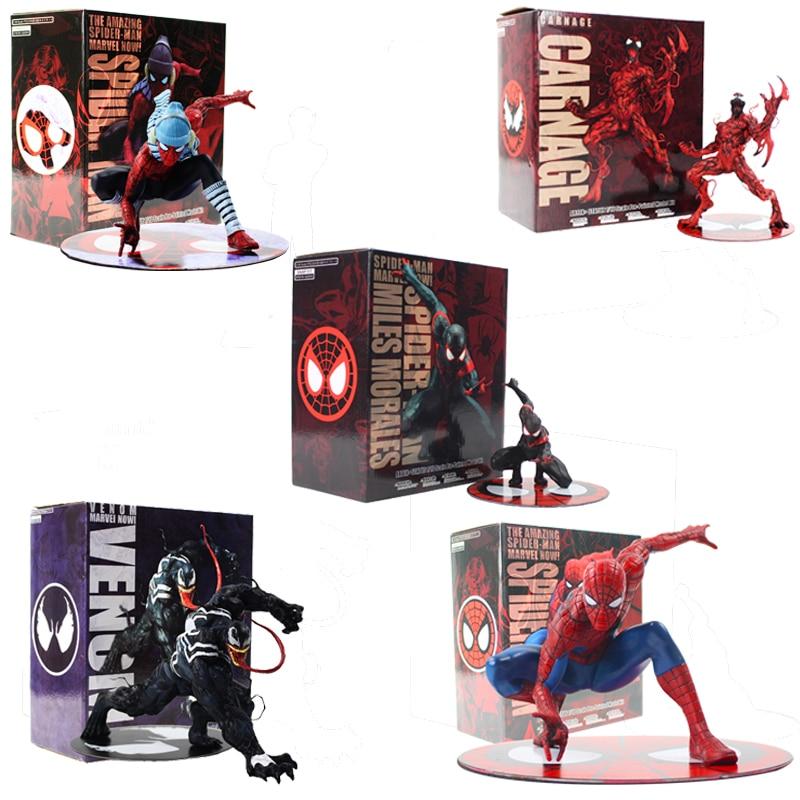 ARTFX Statue The Avengers Spiderman Carnage Venom Black Spider-Man Miles Morales Figure Toys Model Kit Gift For Kids