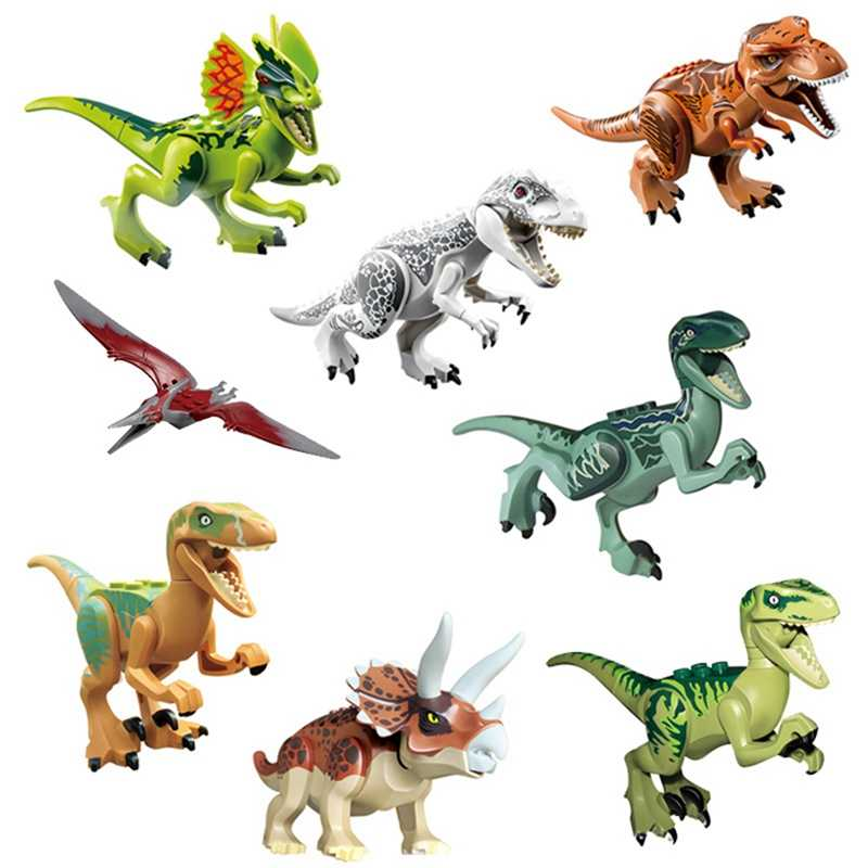 Jurassic Park Triceratops Protezione Raptor Indomirus T-Rex Dinosauri Del Mondo Action Figures Building Blocks Giocattoli per I Bambini