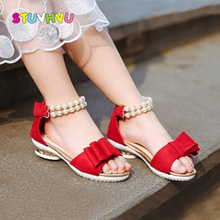 Summer Shoes for Girls Sandals Children's Shoes Fashion Leather Pearl Bow Kids Princess Shoes Ankle Beading Girl Sandals 2019 все цены