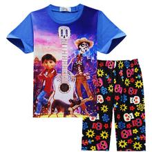 6ffc024a2 2018 Kid's Summer Pajamas Suit COCO Costume Cotton T-shirt + Print Shorts Clothing  Set