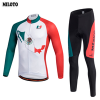 MILOTO Mens Spring Autumn Cycling Jersey Long Sleeve Set Ropa Ciclismo Silicon Gel Paded Bib Pants Bike Bicycle Clothing