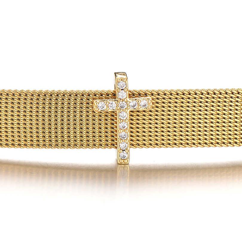 Pipitree Micro Lát Đá Cubic Zirconia Chéo Quyến Rũ Vàng Đồng Màu DIY Lưới Vòng Tay Trượt Hạt Charms Phụ Kiện Trang Sức