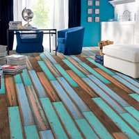 Simulation 3D wood floor stickers Adhesive Tile Art Floor Wall Decal Sticker DIY Kitchen Bathroom Decor 1PC