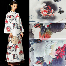 (50 cm/lot) air brushing printed 40mm silk fabric for sewing heavy GGT satin fabrics stretch cloth Mulberry peony top quality