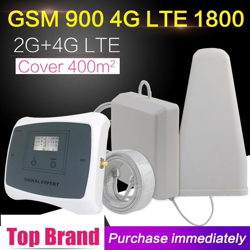 LCD Display GSM 900 DCS 1800 Dual Band Mobile Phone Signal Booster Repeater GSM 4G LTE 1800mhz Amplifier Antenna SetLCD Display GSM 900 DCS 1800 Dual Band Mobile Phone Signal Booster Repeater GSM 4G LTE 1800mhz Amplifier Antenna Set