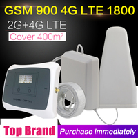 LCD Display GSM 900 DCS 1800 Dual Band Mobile Phone Signal Booster Repeater GSM 4G LTE 1800mhz Amplifier Antenna Set