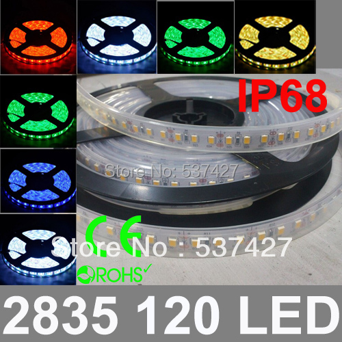 IP68 Waterproof DC12V/24V input High brightness 2835 SMD Epistar Chip 24W 120 LED/Meter LED Strip Light, 5 Meter/Bag