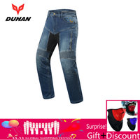 Духан мото брюки Для мужчин мото джинсы Мотокросс брюки для верховой езды Pantalon мото Колено защитный Шестерни мотоциклетные джинсы брюки