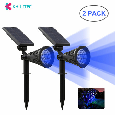 khlitec 2 4 pack solar focos led wall paisagem luz solar ajustavel 2 em 1
