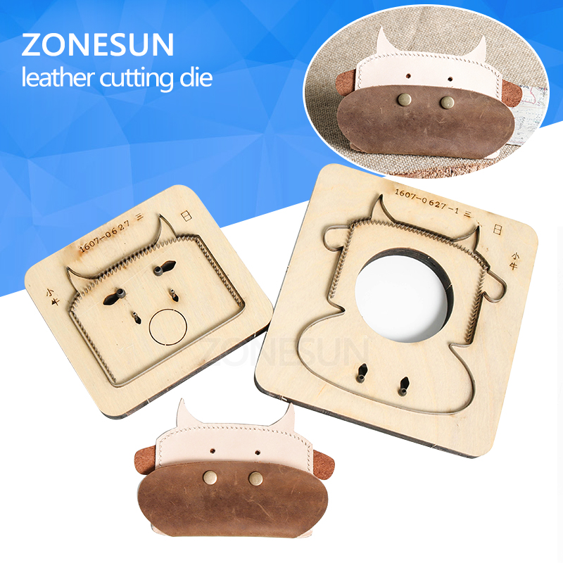 ZONESUN Customized calf shape Leather coin holder change purse minimalist wallet cutting mold die punch animal Japanese steel