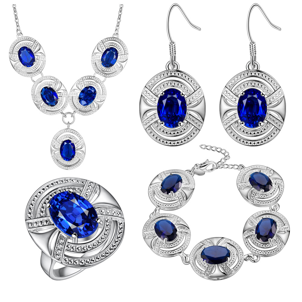 Jewelry Sets Jewelry Sets & More Bright 925 Logo Montana Blue Crystal White Zircon Silver Color Jewelry Sets For Women Bracelets/necklace/earrings/ring/pendant