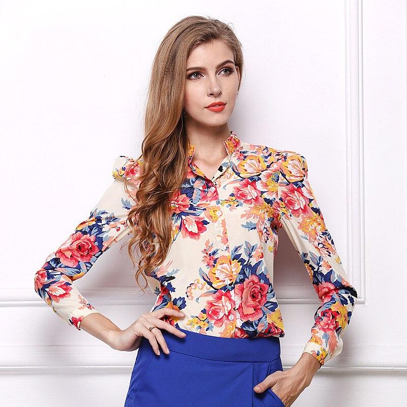 Blusas de las mujeres Blusa de Flores de Manga Larga de Las Mujeres Camisas Feme