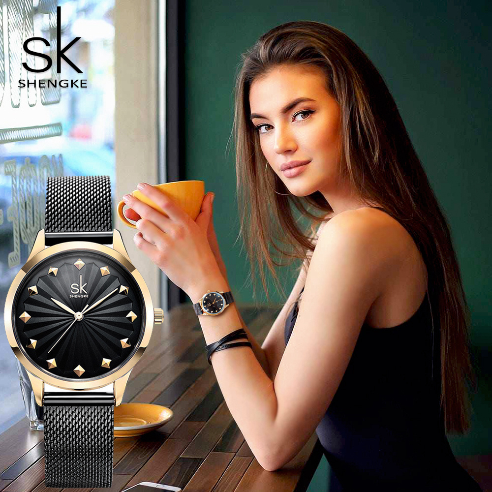 Shengke Women Watch New Quartz Top Quality Luxury Fashion Wristwatches Ladies Gift Relogio Feminino Milan Mesh Band Lady Watch