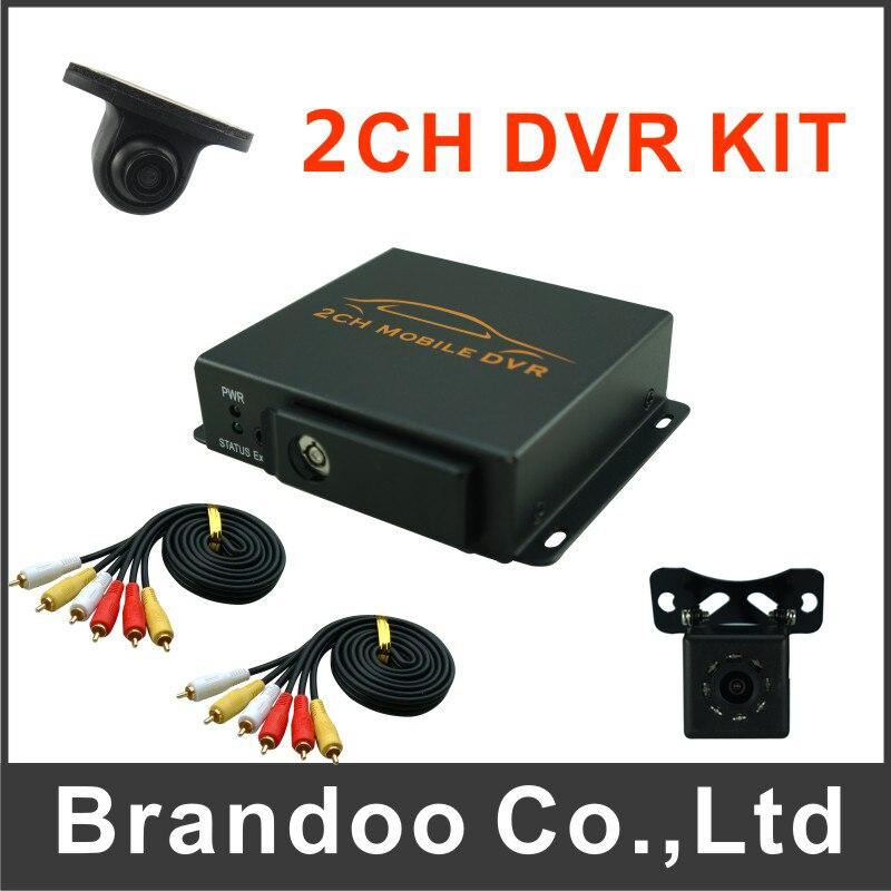 2ch CAR DVR kit, including 1pcs 2CH car dvr, 2 car cameras, 2 video cables, DIY installation DVR kit