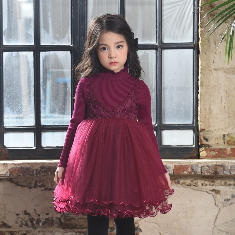 Girls new spring/fall/winter children lace tutu dresses kids party Long Sleeve clothes  1AP410DS-60R  Eleven Story 60r