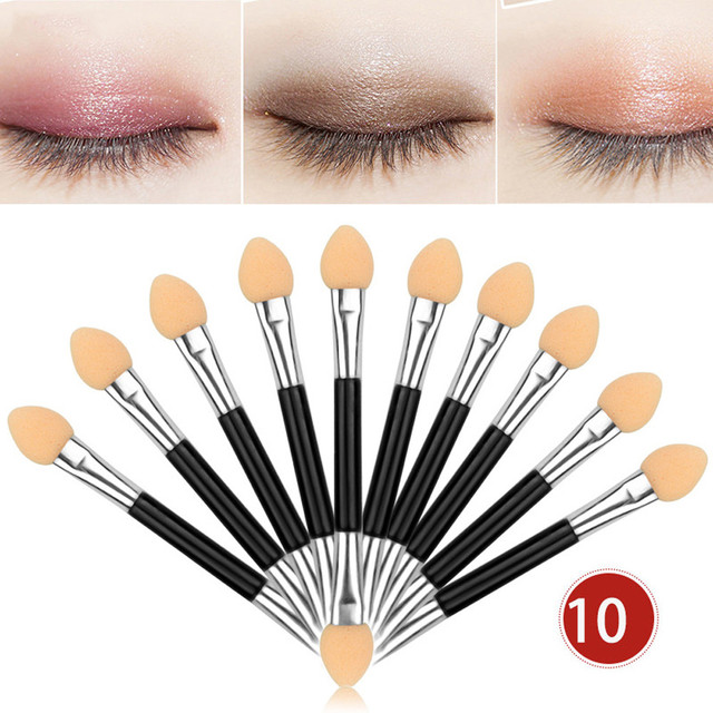 HOT SALE 10Pcs Makeup Double-end Eye Shadow Eyeliner Brush Sponge Applicator Tool cosmetic eyeshadow brush oct27 1