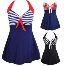 Sexy Plus Size Stripe Padded Halter Skirt font b Swimwear b font Women font b One