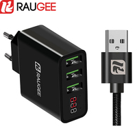 Raugee Universal 3 USB Ports Charger 5V 2 4A EU Plug Travel Charging Head Adapter For