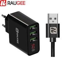 Raugee Universal Display LED 3 Portas USB Carregador Rápido 5 V 2.4A UE plugue de Viagem Carregador de Parede Adaptador para redmi nota 4 X OnePlus 5 3