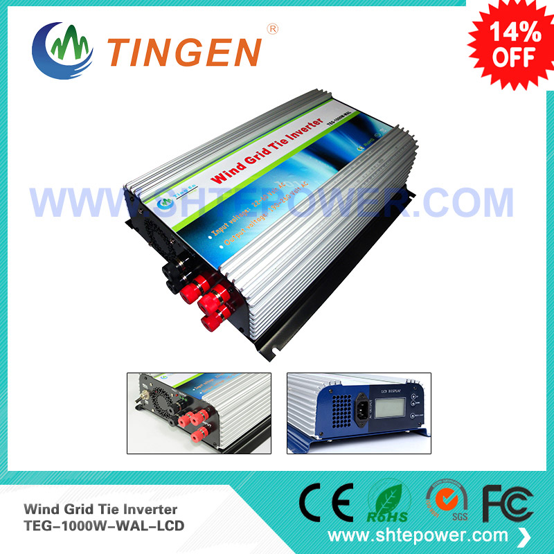 1000W on Grid Tie Power Inverter AC 22V~60V to AC 190V~260V,Dump Load Controller,for 3 Phase Wind turbine maylar 2000w wind grid tie inverter pure sine wave for 3 phase 48v ac wind turbine 90 130vac with dump load resistor