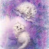 Diy Needlework Two White Cat Embroidery Diamond Animals Painting Flowers Square Patterns Rhinestone Cross-Stitch Art Home Decor