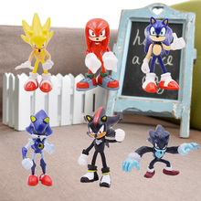 5-7cm 6pcs/set Sonic Anime Figure Sonic Shadow Tails Characters Animals Toys PVC Figure Christmas Gift Model Toys Collection цена 2017
