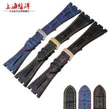 Reloj del cuero genuino con cocodrilo ver accesorios de 28 mm de cuero doble accesorios de relojes correa