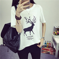 2017 fashion t shirt women Short Sleeve New Fashion T-shirts For Ladies Animal Deer print Hip Hop T-shirt For Woman student