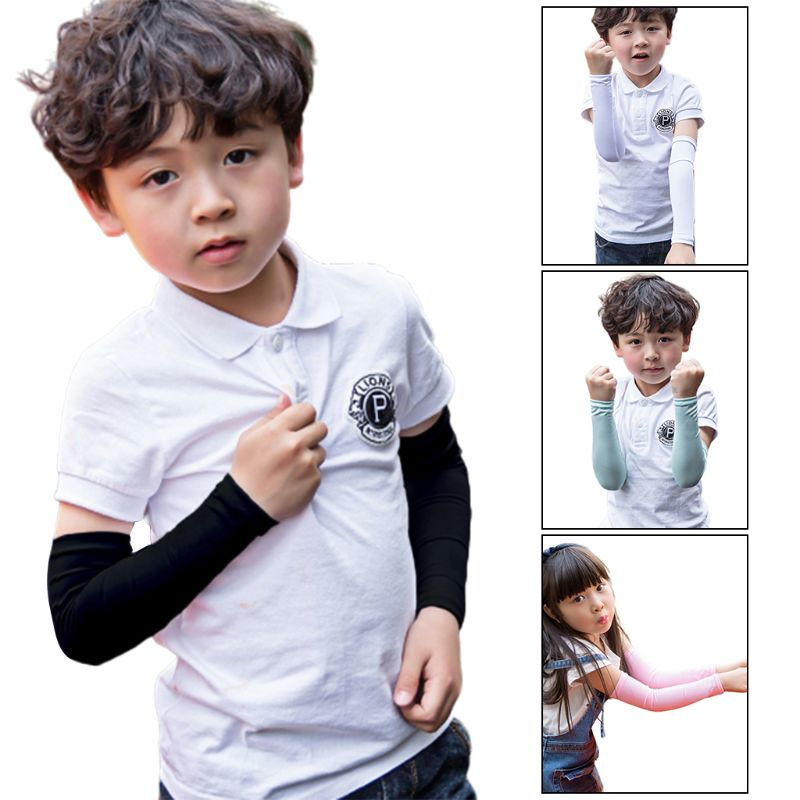 Children Kids Summer UV Protection Ice Silk Cooling Arm Sleeves Solid Color Outdoor Sunblock Protective Long Fingerless Gloves