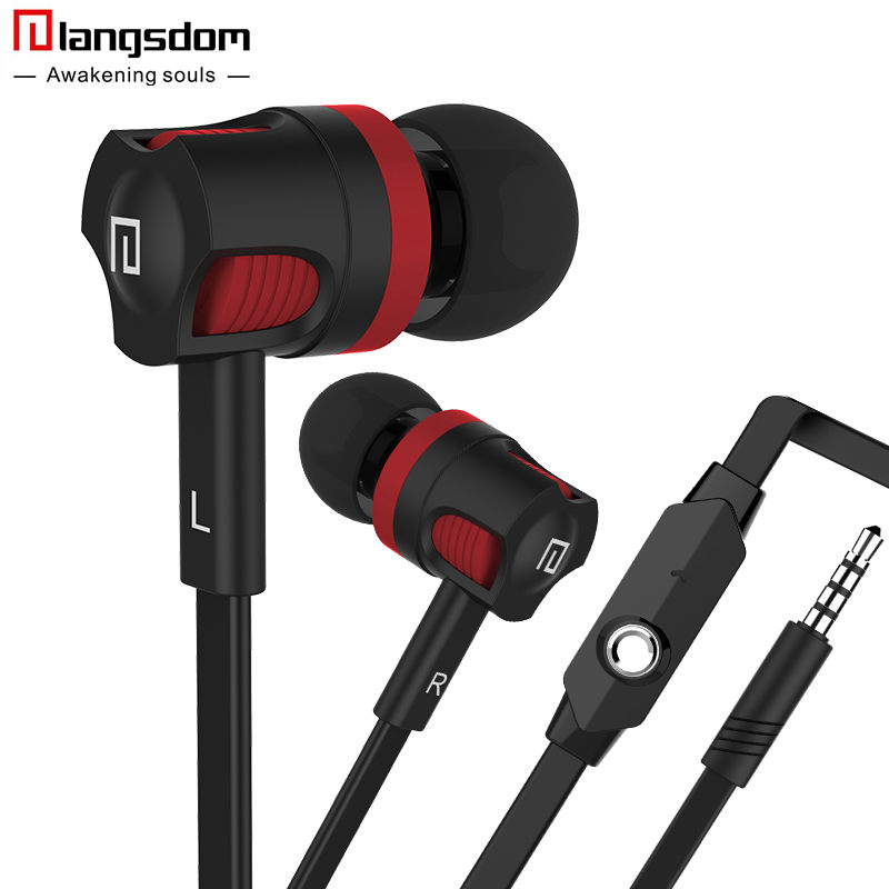 Langsdom PU-01 3.5mm In-Ear Headset with Mic Earbuds Super Bass Earphones For Mobile Phone Fone De Ouvido Auriculares Audifonos цена и фото
