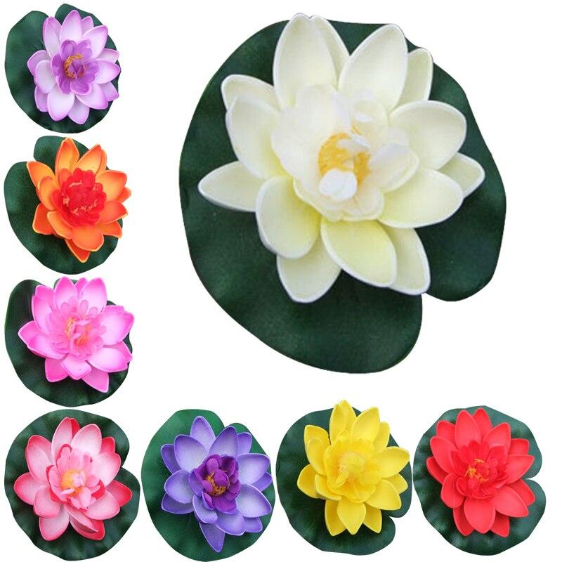 1 Pc Schwimm Künstliche Lotus Ornament Für Aquarium Aquarium Teich Wasser Lilie Lotus Künstliche Blumen Home Kopf Für Dekoration