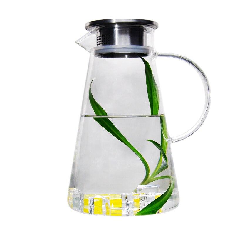 Утолщенной чайник Взрывозащищенные стекла холодной чайник высокая температура домой большой емкости фруктовый сок горшок с чаем фильтра