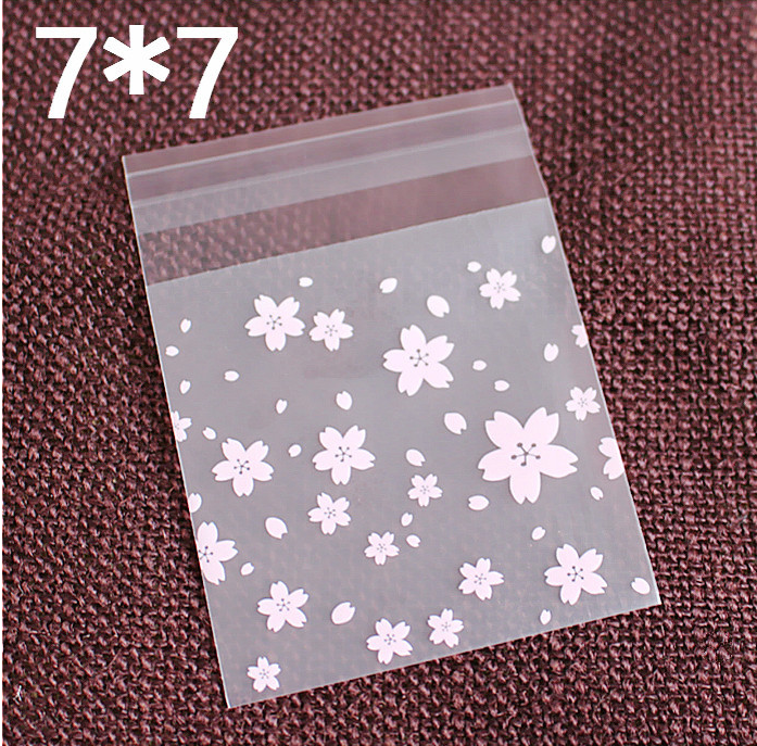 100 pz/set di cherry blossom modello di auto-adesivo regalo sacchetto di imballaggio per alimenti carino biscotti/sacchetti di caramelle sacchetti di cellophane sacchetti di plastica
