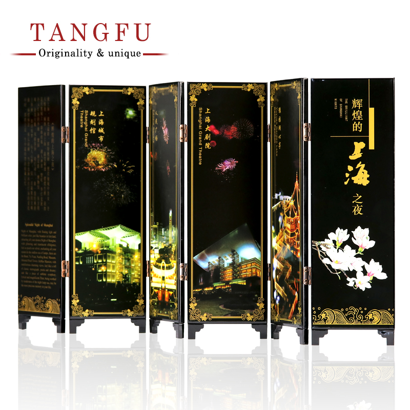 Free Shipping Miniature Folding Screen China antique Shanghai lacquer personality ornament vintage wood decoration room divider