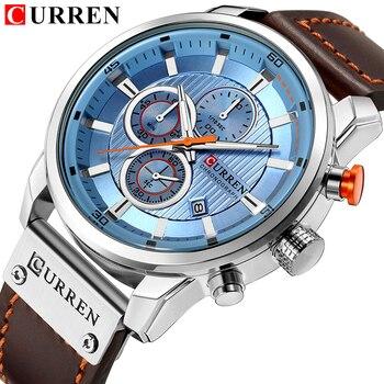 למעלה מותג יוקרה CURREN 2018 אופנה עור רצועת קוורץ גברים שעונים מקרית תאריך עסקי זכר שעוני יד שעון Montre Homme