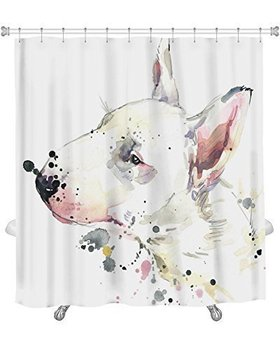 Art Gallery New Shower Curtain Image Of Bull Terrier Dog Tshirt Graphics Dog With Splash Watercolor