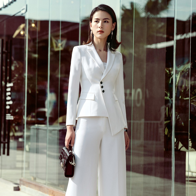 098d60d2dd6e Two Piece Suit Set Tailleur Femmo Long Sleeve Blazer & Professional  Overalls Pant Suits for Women Plus Size Workwear OL Set-in Pant Suits from  Women's ...