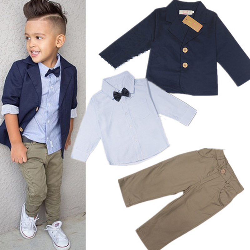 2-8yrs Spring Autumn 2016 New European Boy Striped Shirt + Tie +coat + Trousers Handsome Casual Suit Children Boys Clothes Sets new hot sale 2016 korean style boy autumn and spring baby boy short sleeve t shirt children fashion tees t shirt ages